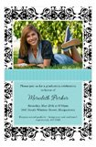 Aqua Damask Graduation Photo Announcements