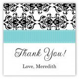 Aqua Damask Square Sticker