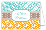 Aqua Khaki Orange Graphic Duo Folded Note Card