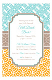 Aqua Khaki Orange Graphic Duo Invitation