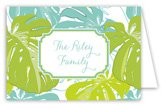Aqua Lime Palms Folded Note Card