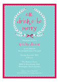 Aqua Eat Drink and be Merry Wreath Invitation