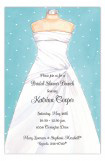 Aqua Strapless Wedding Dress Invitation