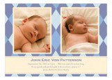 Argyle Blue Twin Birth Announcements