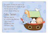 Ark Animals on Blue Invitation
