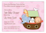 Ark Animals on Pink Invitation
