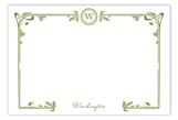 Art Nouveau Green Flat Note Card