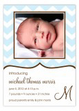 Baby Blue Chevron Boy Birth Cards