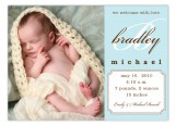 Baby Blue Script Initial Birth Announcement Photo Cards
