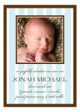 Baby Blue Stripes Photo Card Birth Announcements for Boys