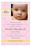 Baby Girl Damask Photo Card