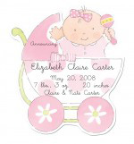 Baby Girl in Carriage Die-cut Invitation