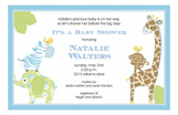 Baby Jungle Blue Invitation