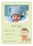 Baby Monkey Photo Card Announcements for Boys