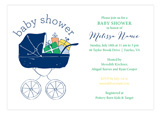 Baby Shower Stroller Boy Invitation