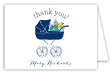 Baby Shower Stroller Boy Note Card