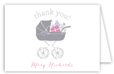 Baby Shower Stroller Girl Note Card