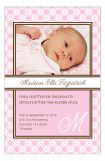 Baby Trellis Pink Photo Card