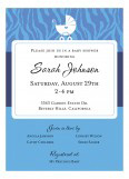 Baby Zebra Blue Baby Boy Shower Invitations