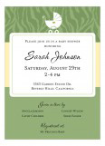 Baby Zebra Green Invitation