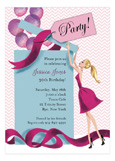 Balloon Gift Girl - Blonde Invitation