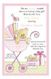 Bear in a Buggy Pink Girls Shower Invitations