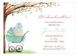 Beautiful Bassinet Green Invitation