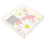 Beautiful Daisies in Pink Square Lucite Tray