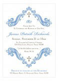 Beautiful Scroll and Cross Blue Baptism Invitation