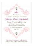 Beautiful Scroll and Cross Pink Invitation