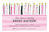 Birthday Candles Sweet 16 Invitation