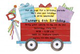 Birthday Wagon Die-cut Invitation