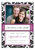 Black and Plum Damask Border Photo Card