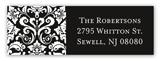 Black Damask Greeting Address Label