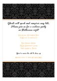 Black Halloween Damask Invitation