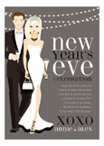 Blonde B+W New Year Couple Invitation