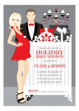Blonde Classic Crib Couple Holiday Invitation