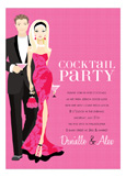 Blonde Cocktail Party Hot Pink Invitation