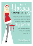 Blonde Red Dress Runway Invitation