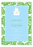 Blue and Green Monogram Apron Invitation