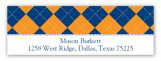 Blue and Orange Argyle Address Label