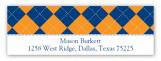 Blue and Orange Argyle Address Label