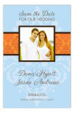 Blue and Orange Damask Photo Card