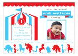 Blue and Red Circus Photo Invitation