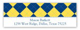 Blue and Yellow Argyle Address Label
