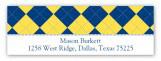 Blue and Yellow Argyle Address Label