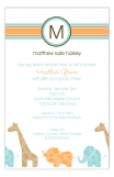 Blue Animal Monogram Invitation