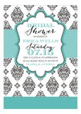 Blue Brocade Bridal Invitation