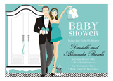 Blue Brunette Armoire Baby Shower Invitation