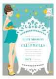 Blue Brunette Classic Crib Mama Invitation